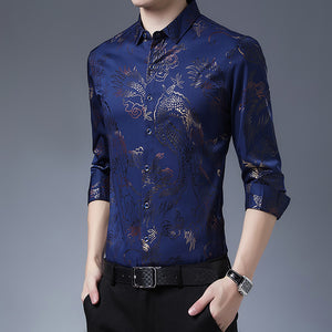 Fashionable 3D stamping printed ice silk shirt