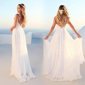 Classic-styled White V-neck Long Wedding Dress - onekfashion