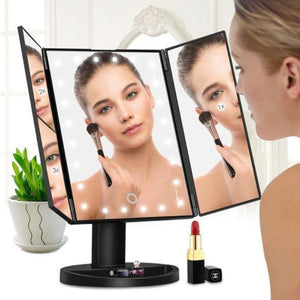 22 LED Folding Makeup Mirror with 180 Degree Rotatable Countertop