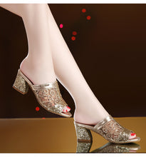 Load image into Gallery viewer, Woman Summer Sandals Gold Open Toe Sandal Lace Dress Shoes