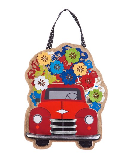 Red Truck with Flowers | Door Decor