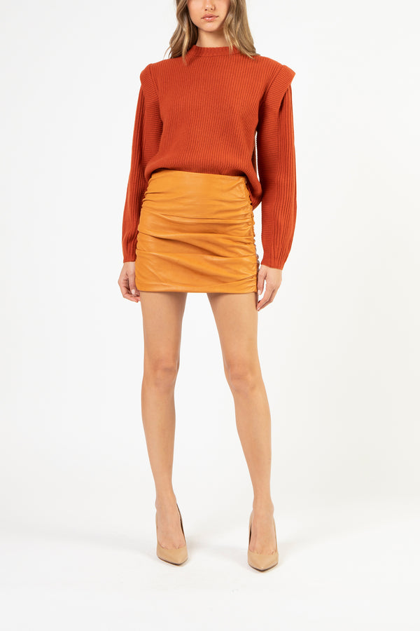 Ruched leather mini skirt - copper