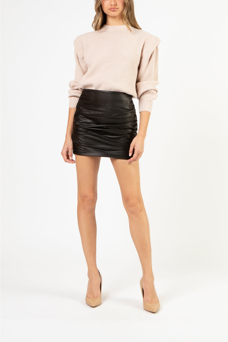 Ruched leather mini skirt - black