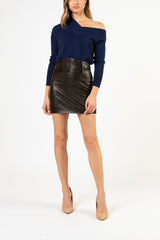 Corset leather mini skirt - black