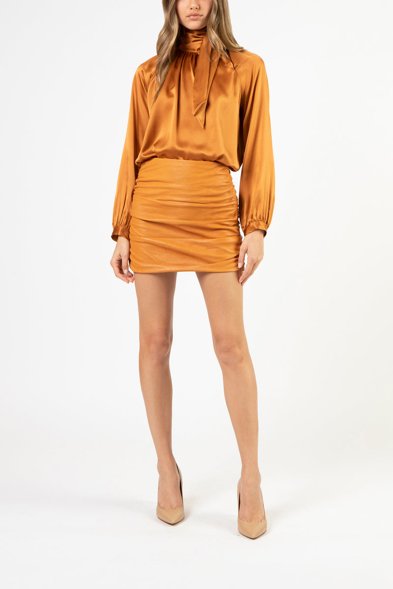Tie neck blouse - copper