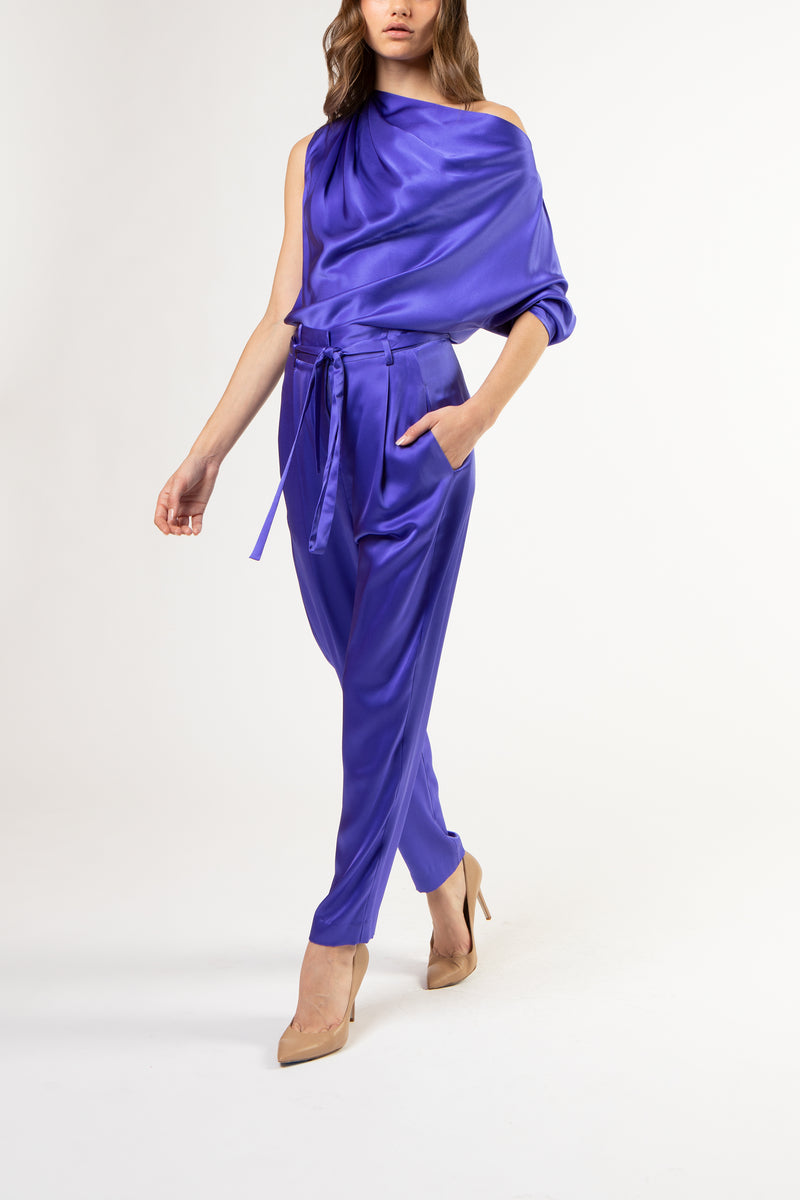 One sleeve draped top - ultraviolet