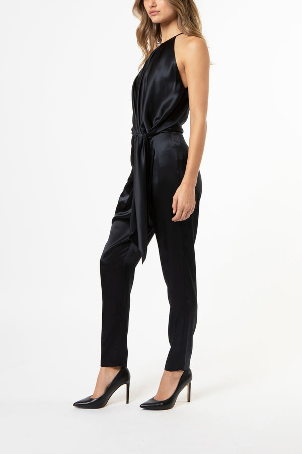 one shoulder pleat top with tie - midnight