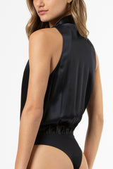 pleat halter bodysuit - midnight