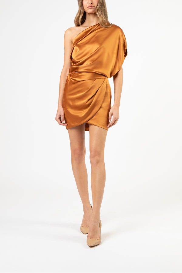 Draped mini skirt - copper