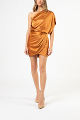 One shoulder lapel top - copper