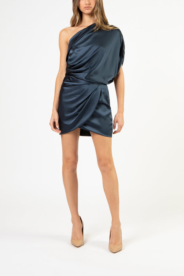 One shoulder lapel top - slate