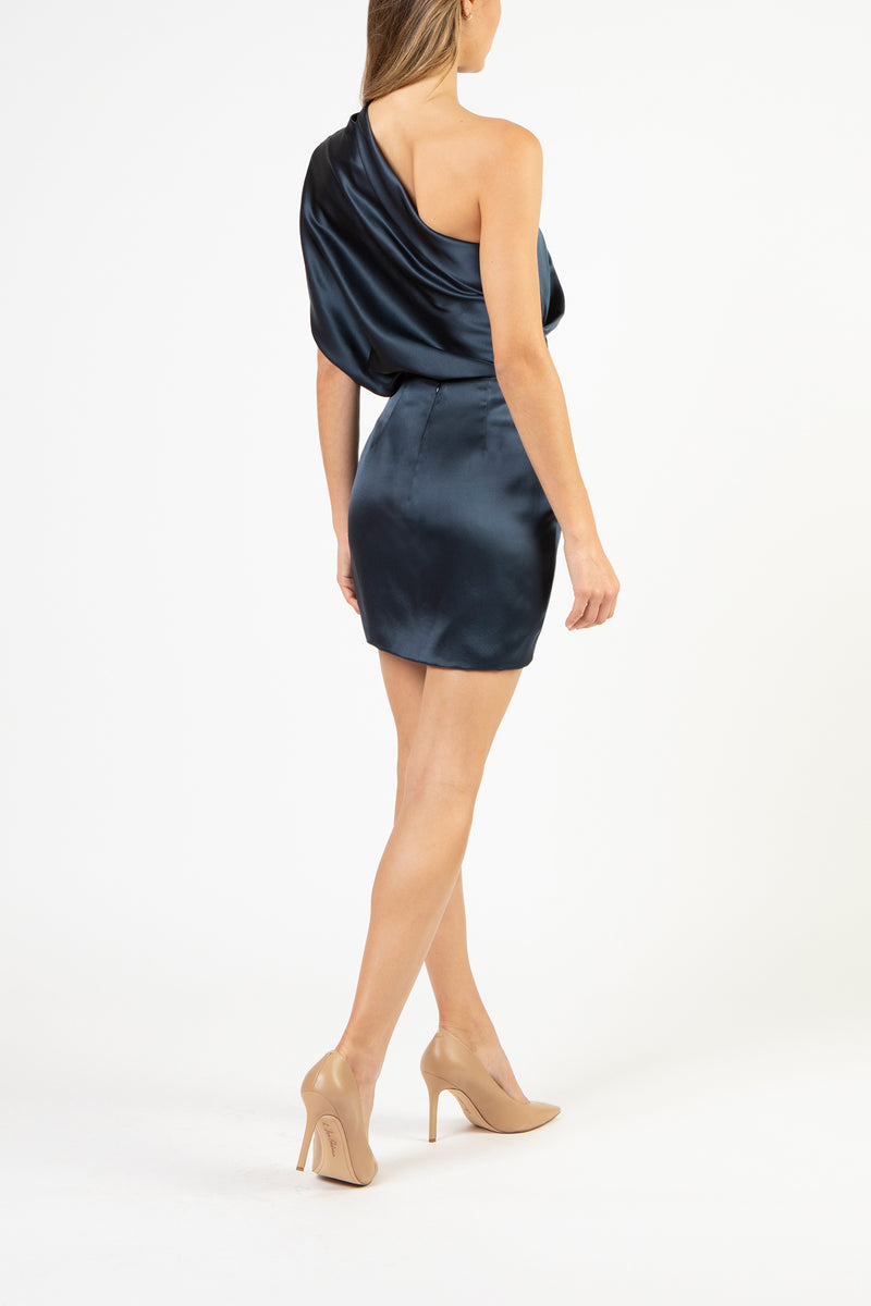 Draped mini skirt - slate