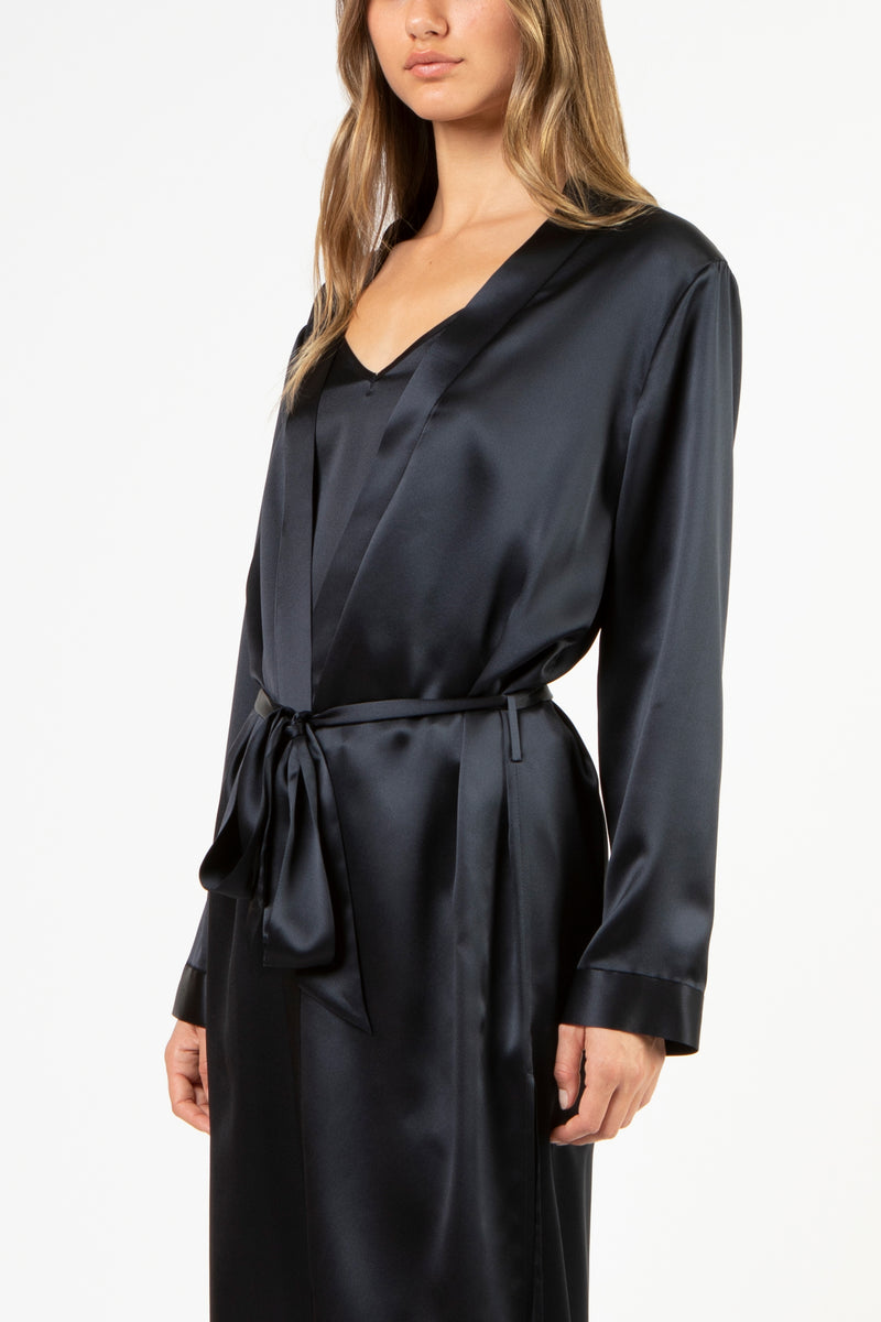 Robe with slits - midnight