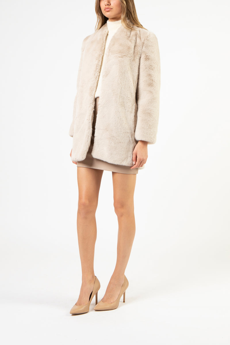 Faux fur car coat - cream