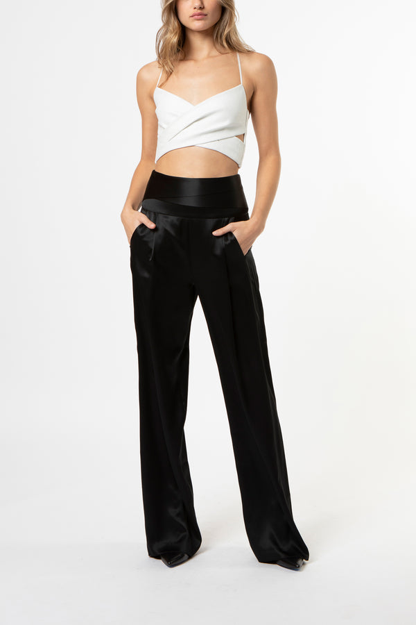Cumberbund trouser - black