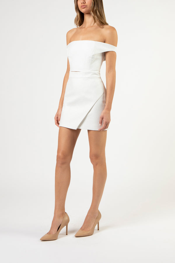 wrap mini skirt - ivory