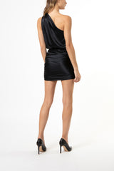 gathered mini skirt - black