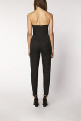 PLEATED BUSTIER JUMPSUIT - black