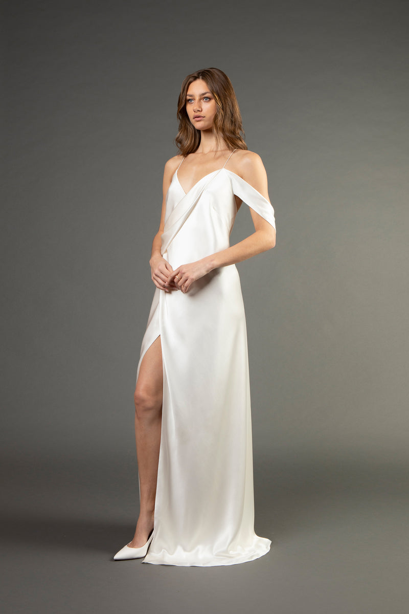 Strappy wrap gown w/ back cowl - ivory (preorder)