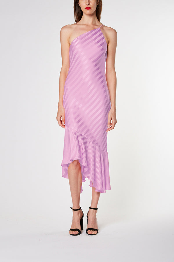 One shoulder ruffled dress - lilac