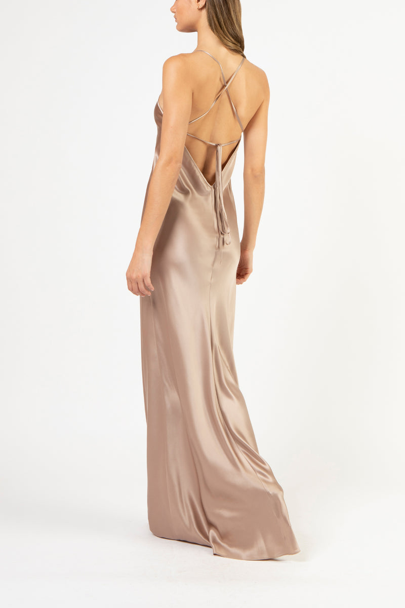 Bias maxi dress - putty