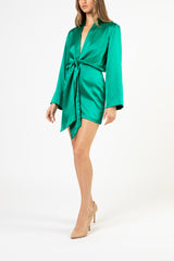 KIMONO TIE MINI DRESS - emerald