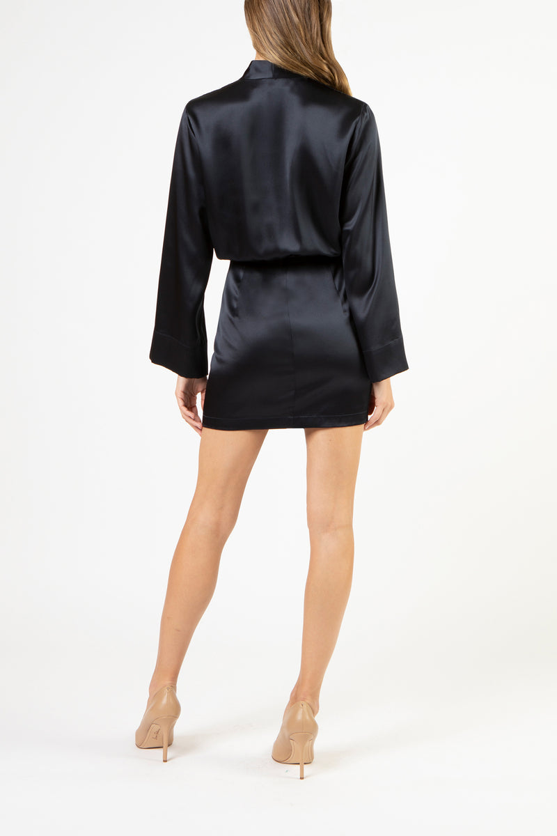Kimono tie mini dress - Midnight