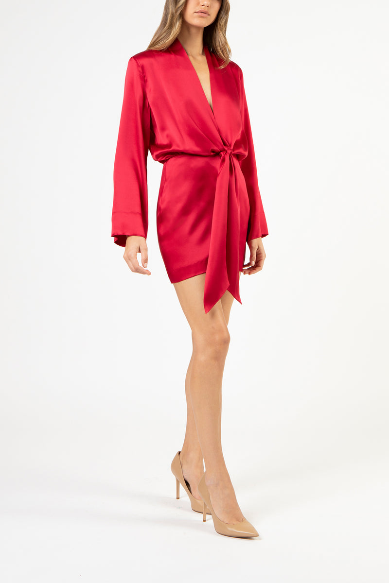 KIMONO TIE MINI DRESS - RUBY
