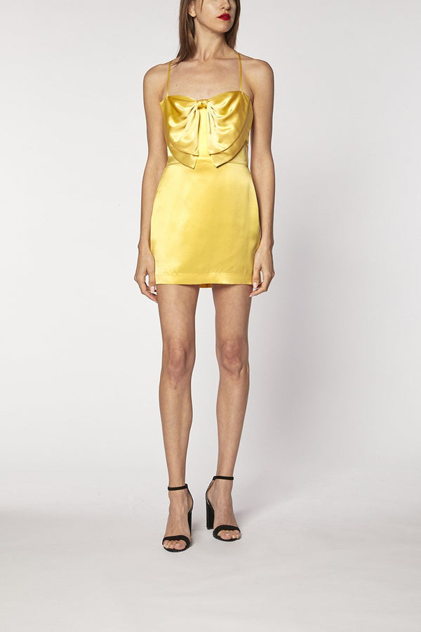 BOW MINI DRESS - butter