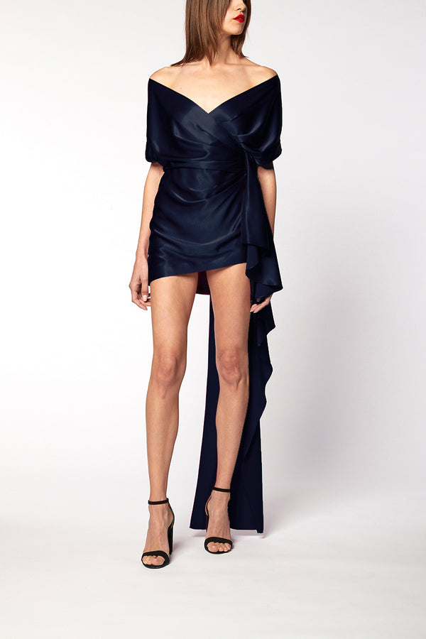 WIDE NECK WRAP MINI DRESS WITH TRAIN - midnight