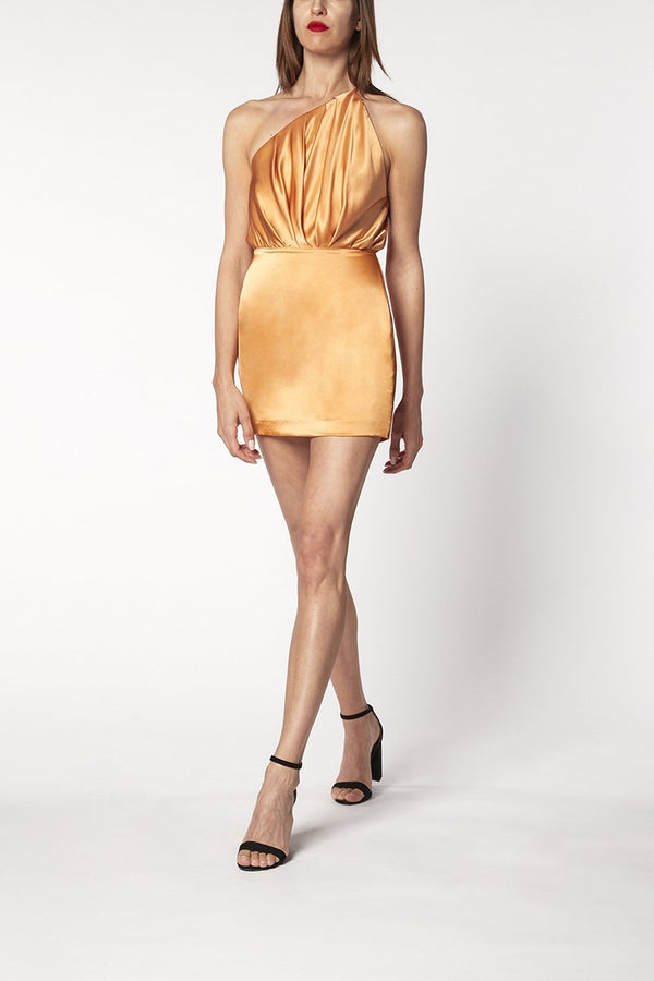 ONE SHOULDER PLEAT MINI DRESSS - apricot