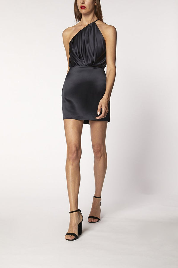 ONE SHOULDER PLEAT MINI DRESSS - midnight