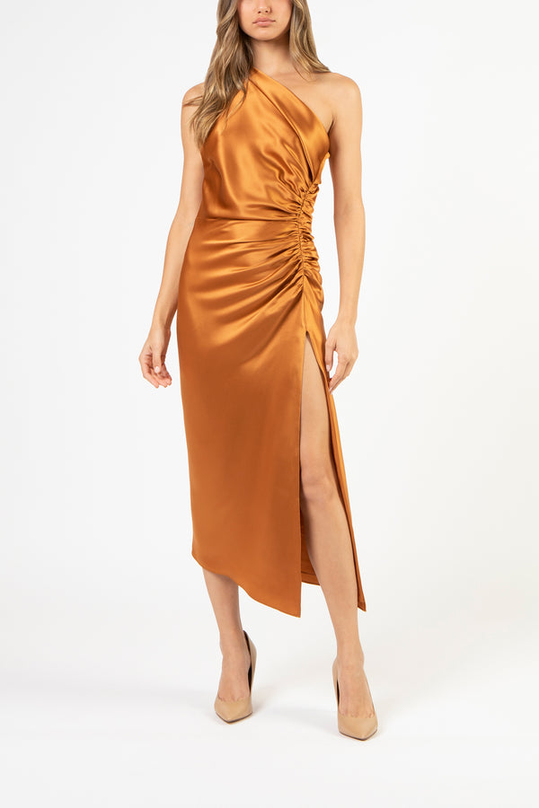 Asymmetrical gathered dress - copper