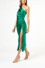 Asymmetrical gathered dress - emerald