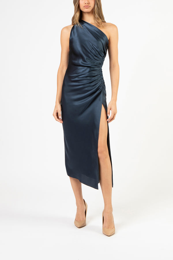 Asymmetrical gathered dress - slate