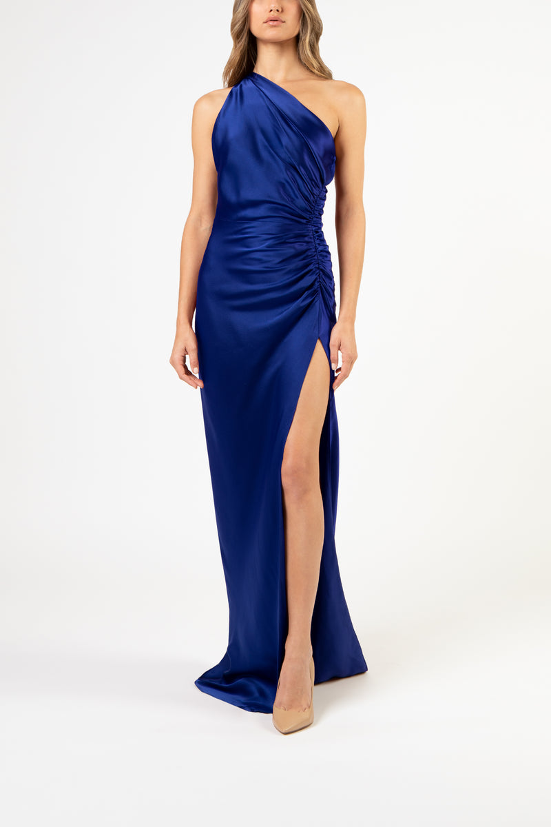 Asymmetrical gathered gown - cobalt