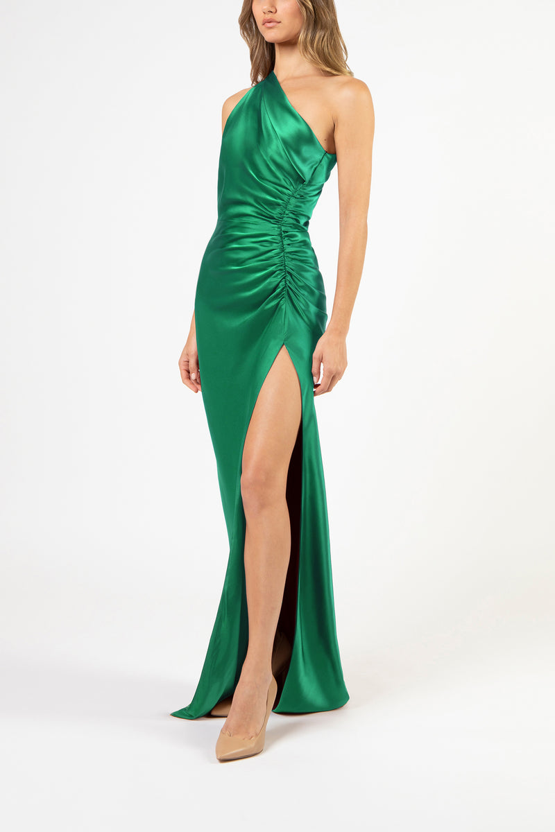 Asymmetrical gathered gown - emerald