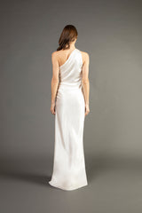 Asymmetrical gathered gown - ivory (preorder)