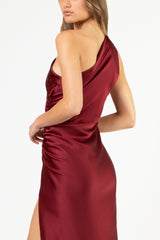 Asymmetrical gathered gown - oxblood