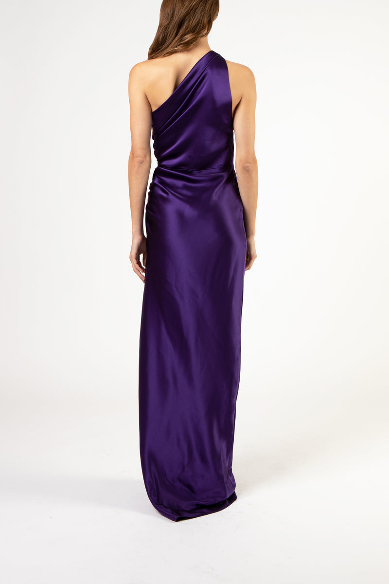 Asymmetrical gathered gown - violet (preorder)