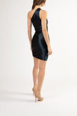 Asymmetrical gathered mini dress - carbon