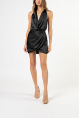Halter draped mini dress - black