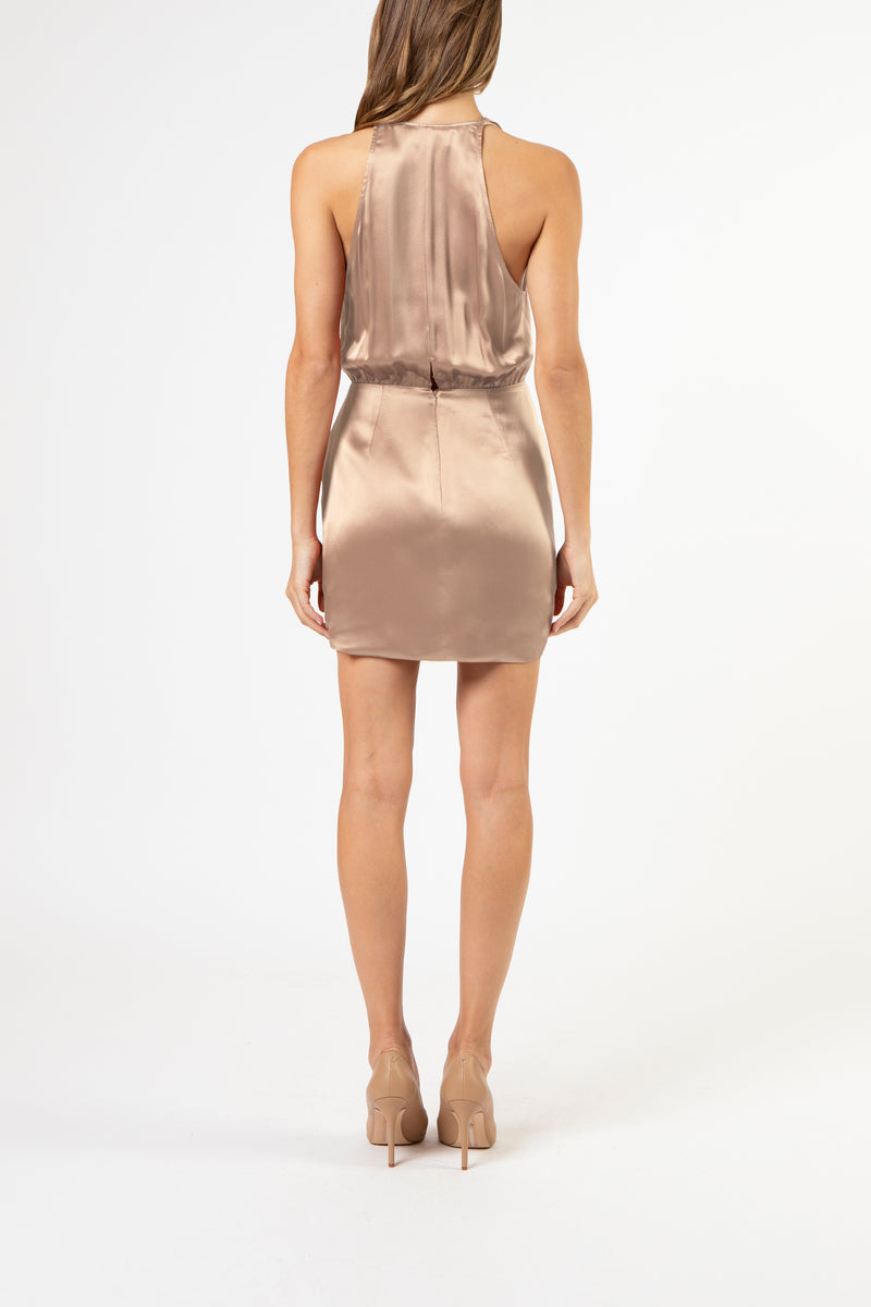 Halter draped mini dress - putty