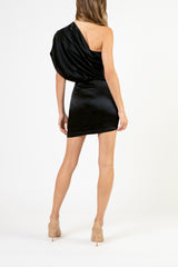 Asymmetrical draped mini dress - black