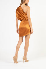 Asymmetrical draped mini dress - copper