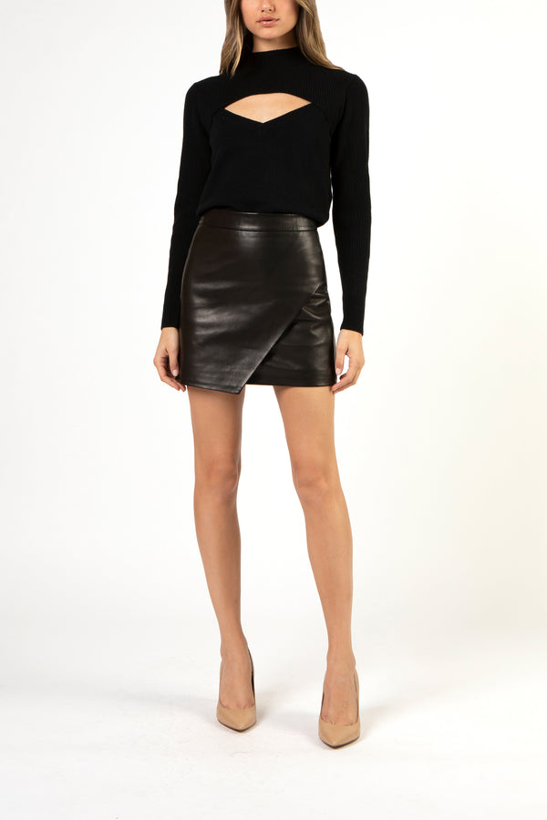 Asymmetrical leather mini skirt - black