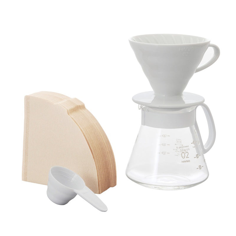 This White Hario V60 Ceramic Dripper 02 Set is all you need to be your own barista at home.