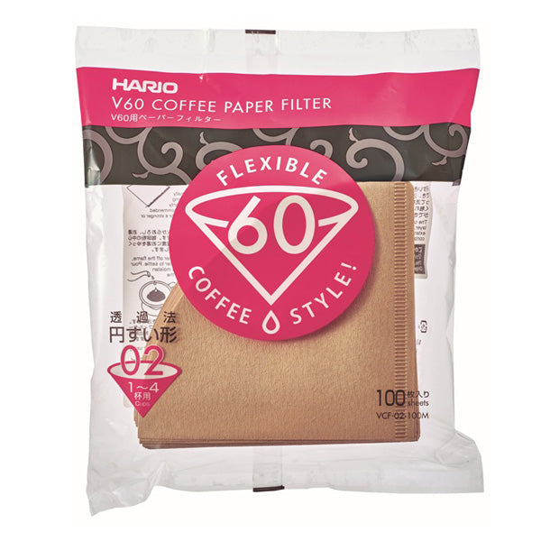 Hario 100 Stuck 02 size unbleached V60 coffee filters is all you need for your perfect cup of coffee.