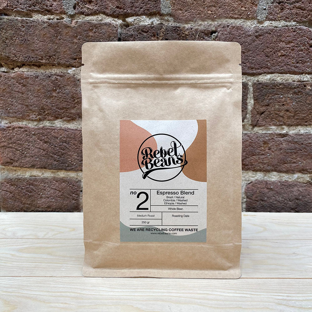 Rebel Beans Medium roast espresso blend made from Brazil, Colombia and Ethiopia coffee beans.