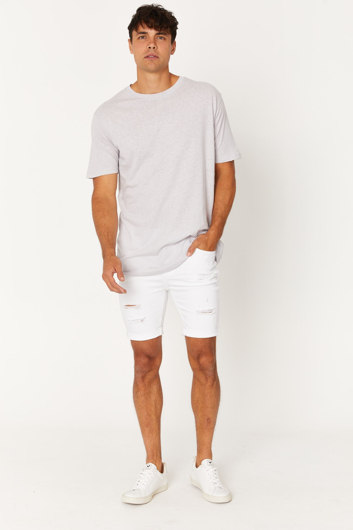 NTH Distress Denim Short White